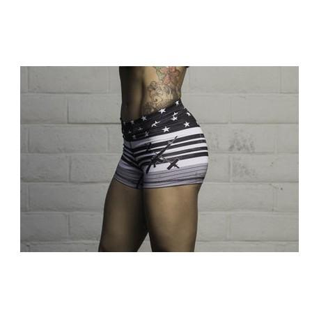 Barbell Cartel Black flag women short porté