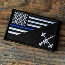 THE BARBELL CARTEL - Black Flag with Blue Line Velcro Patch