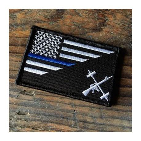 Patch Velcro Black Flag Noir Ligne bleue THE BARBELL CARTEL 1