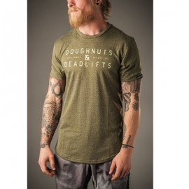 "DOUGHNUTS & DEADLIFTS - T-shirt ""PERFORM - Perforated Crew Tee"" Olive"