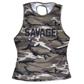 "SAVAGE BARBELL - Débardeur Femme ""Crossback - Camo"""