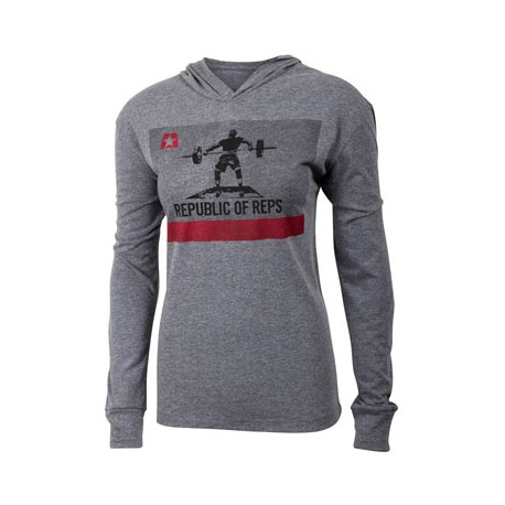 T-shirt Unisex manches longues et capuche JUMPBOX FITNESS modèle REPUBLIC OF REPS 1