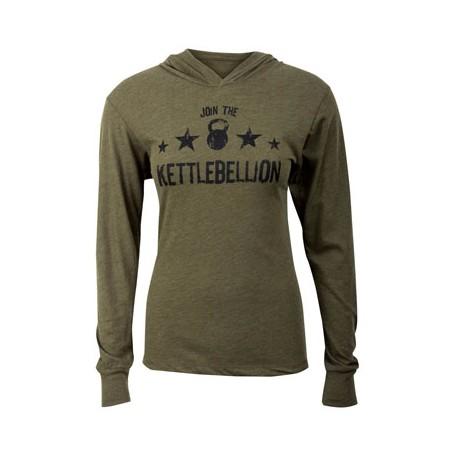 T-shirt Unisex manches longues et capuche JUMPBOX FITNESS modèle JOINT THE KETTLEBELLION 1