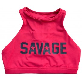 "SAVAGE BARBELL - Brassière Femme ""Sports Bra - High Neck Rose"""