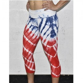 ANGEL DEL MAR - Women Legging Capri TIE DYE Red White and Blue