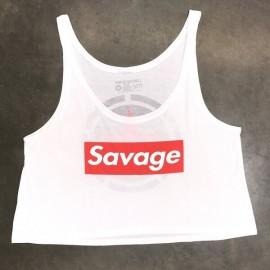 """SAVAGE BARBELL - Women Crop Top """"Savage Box - White"""""""