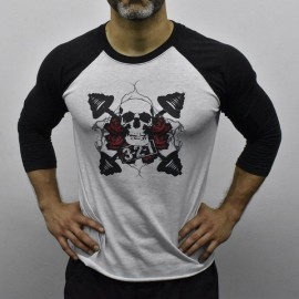 321 APPAREL - Tee-shirt de Baseball Unisex Blanc chiné manches noires motif Rose & Skull