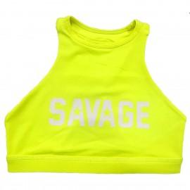 "SAVAGE BARBELL - Brassière Femme ""Sports Bra - High Neck Glow Stick"""