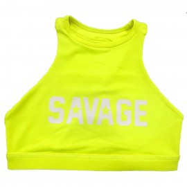 "SAVAGE BARBELL - Brassière Femme ""Sports Bra - High Neck Glow Stick"""