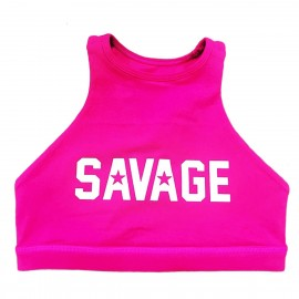 "SAVAGE BARBELL - Women Sports Bra ""High Neck Atomic Raspberry"""