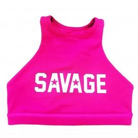 "SAVAGE BARBELL - Top ""Sports Bra - High Neck Atomic Raspberry"""