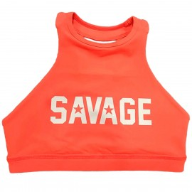 "SAVAGE BARBELL - Brassière Femme ""Sports Bra - High Neck Orange Crush"""