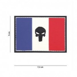 """DR WOD - Patch Velcro PVC """"Punisher sur drapeau français"""""""