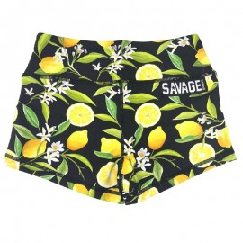 "SAVAGE BARBELL - Women Booty Short ""Lemon Drop - Black"""