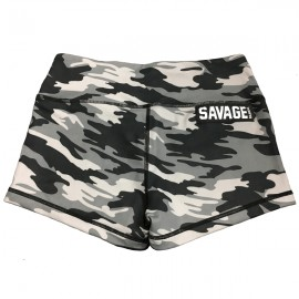 "SAVAGE BARBELL - Women Booty Short ""Gray Camo"""