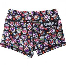 "SAVAGE BARBELL - Women Booty Short ""Sugar Skulls"""