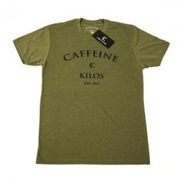 """CAFFEINE & KILOS - Camiseta Hombre """"Arch Logo"""" - Verde Militar"""