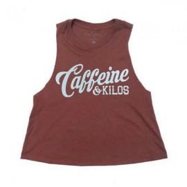 """CAFFEINE & KILOS - Muscle Tank Mujer """"Script  Logo"""" Crop - Mauve"""