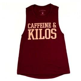 """CAFFEINE & KILOS - Muscle Tank Femme """"Bold Logo"""" - Maroon"""