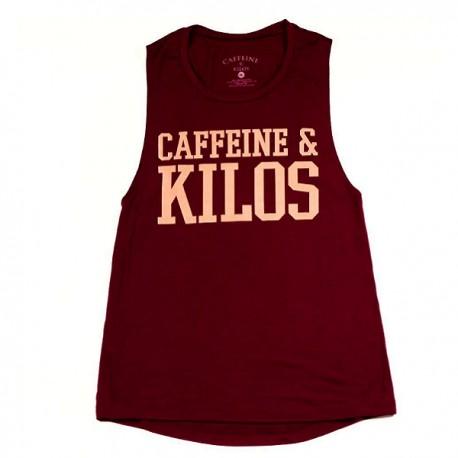 """CAFFEINE & KILOS - """"Bold logo"""" Women Muscle Tank  - Maroon"""