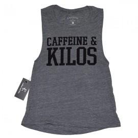 """CAFFEINE & KILOS - """"Bold logo"""" Women Muscle Tank  - Asphalt"""