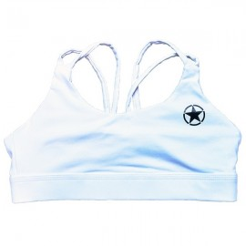 "SAVAGE BARBELL - Women Sports Bra ""Knotty Back White"""
