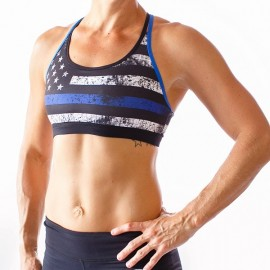 "BORN PRIMITIVE - Brassière Femme ""Warrior Sports Bra - Thin Blue Line"""