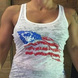 drwod 321 apparel crossfit débardeur American Flag Femme blanc