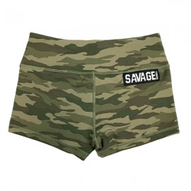 "SAVAGE BARBELL - Women Booty Short ""Green Camo"""