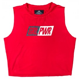 "SAVAGE BARBELL - Cut Off Tee Mujer ""GRL PWR - Red"""