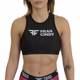 "FRAN CINDY - Women Sports Bra ""High Neck Black"""