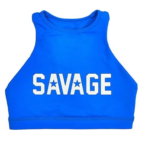 "SAVAGE BARBELL - Top ""Sports Bra - High Neck ""Blue Saphire"""