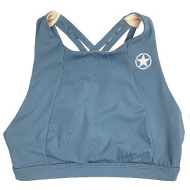 """SAVAGE BARBELL - Top -""""Sports Bra 6 Strap- High Chest """"Blue Steel"""""""