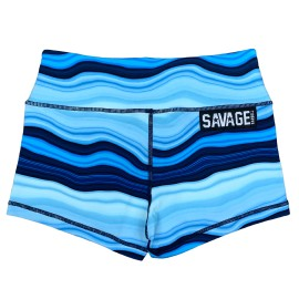 """SAVAGE BARBELL - Women Booty Short Blue Marble"""""""