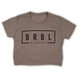 """THE BARBELL CARTEL - T-shirt Femme """"BRBL CROP"""" Ash"""