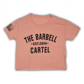 "THE BARBELL CARTEL - T-shirt Femme ""CLASSIC LOGO CROPPED"" Desert Pink"