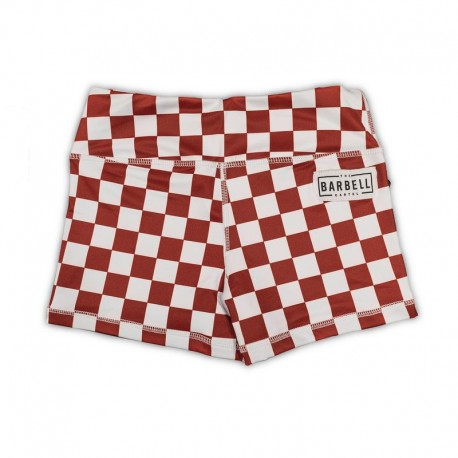 """THE BARBELL CARTEL - Womens  Shorts Comp 2.0 """" Maroon Checkered"""