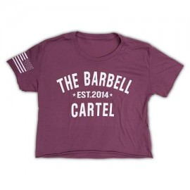 """THE BARBELL CARTEL - T-shirt Femme """"Classic Logo Crop"""" Purple"""