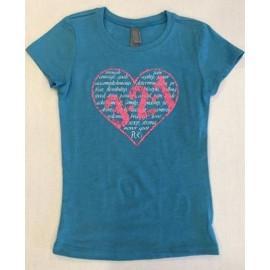 321 APPAREL - Tee-shirt Fille Bleu Turquoise motif Cœur 321
