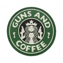 "DR WOD - Patch Velcro PVC ""GUNS and COFFEE"""
