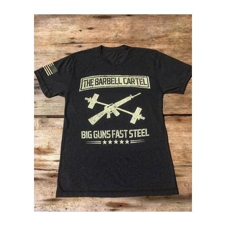 Tee-shirt Homme THE BARBELL CARTEL modèle BIG GUNS FAST STEEL - Noir, XL 1