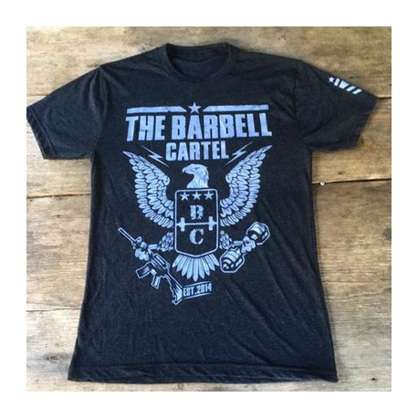 t-shirt_crossfit_drwod_barbell_cartel_eagle_front